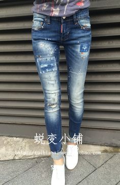 fashion DSQ brand women's jeans casual Classic hole washed denim pants skinny Straight D2 jeans free shipping $59.55