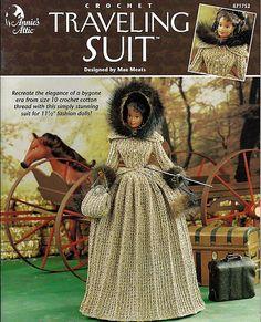 Traveling Suit Fashion Doll Crochet Pattern Annies Attic 871752 via Etsy
