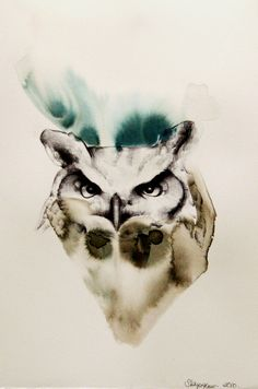 shayle flesser  great horned owl watercolor.beautiful!