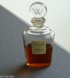 "Vintage ANTILOPE Perfume by WEIL PARIS 4"" Tall Glass Bottle W Logo Stopper"