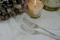 Pretty Little Silver - Bride and Groom Hand Stamped Personalised Vintage Cake Fork Set £18 www.prettylittlesilver.co.uk
