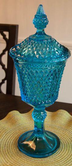 Vintage Opalescent Blue Glass Vase by Lumakawa on Etsy, $75.00