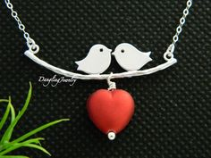 Kissing+Love+Birds+Necklace+Love+Necklace+Heart+by+DanglingJewelry,+$28.00