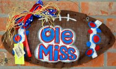 This Ole Miss burlap football is a great way to deck your home out for gameday!