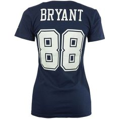 Nike Women's Dez Bryant Dallas Cowboys Player Pride T-Shirt ($32) ❤ liked on Polyvore featuring tops, t-shirts, navy, navy blue top, blue top, nfl tees, wet look top and nike tee