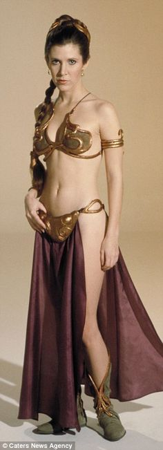 Carrie Fisher as Princess Leia Organa, reduced to the status of a slave girl in the harem of Jabba the Hut.