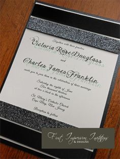Glitter and Satin Ribbon Invitation