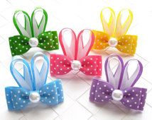 Polka Dot Bunny Ears Hair Bow ● Size: Approximately inches wide and inches tall ● Material: Grosgrain ribbon, heat sealed to Mais Easter Hair Bow Small Hairbow Polka Dot by OneofEverythingBows Look what I found on Easter Bunny Bow Clip Bunny hair bow Ribbon Hair Clips, Ribbon Art, Ribbon Hair Bows, Diy Hair Bows, Diy Bow, Ribbon Crafts, Ribbon Flower, Hair Bow Tutorial, Flower Tutorial