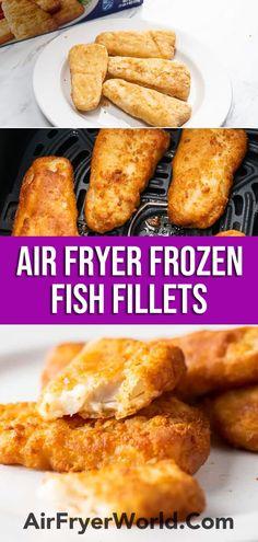 Air Fryer Frozen Fish Fillet or Fish Patty | AirFryerWorld.com Air Fryer Fish Recipes, Air Fry Recipes, Air Fryer Dinner Recipes, Cod Recipes, Fish In Air Fryer, Ninja Recipes, Grill Recipes, Seafood Recipes, Easy Recipes