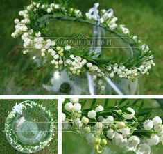 Diy Flower Crown, Diy Flowers, Fresh Flowers, Wedding Flowers, Communion Hairstyles, Wedding Hairstyles, First Holy Communion, White Gardens, Lily Of The Valley