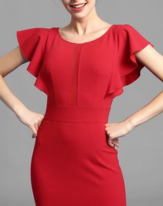 Red Solid Ruffle Sleeve Sheath Midi Office Dress, Red, BAOYAN | VIPme