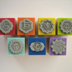 Set of 7 rubber stamps of  7 CHAKRAS & with gift by SamadhiArtShop