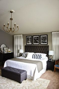 Continue a space's color scheme with the custom framed art you display - in this case black and white images in a classic black and white bedroom. It's an opportunity to continue the interior design… Or better yet, use the custom framed art as a jumping off point for a space's design!