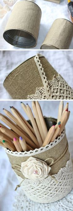 tin cans, two cans covered with burlap, decorated with lace, string and a fabric… - DIY Ideen