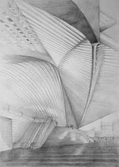 Architect Santiago Calatrava, Liège-Guillemins TGV, Liège, drawing by Klara Ostaniewicz