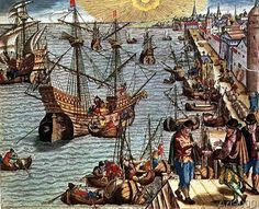 Theodore de Bry - Departure from Lisbon for Brazil, the East Indies and America, illustration from 'Americae Tertia Pars...', 1592