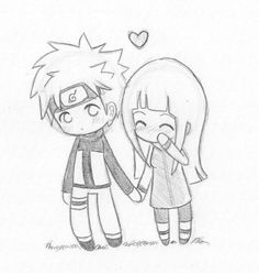 Chibi NaruHina love by ~Nowii on deviantART – Uzumaki Naruto Art Drawings Sketches, Love Drawings, Cartoon Drawings, Easy Drawings, Art Sketches, Awesome Drawings, Drawing Pictures, Pencil Drawings, Cute Couple Drawings