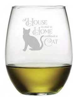 House Home Cat Stemless Wine Glasses