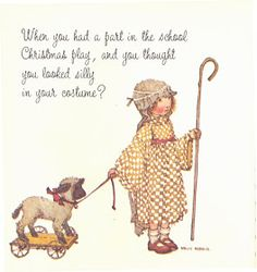 When you had a part in the school Christmas play, and you thought you looked silly in your costume? - written by Doris Faulhaber; illustrated by Holly Hobbie; Christmas Nativity Scene, Christmas Paper, Christmas Images, Vintage Christmas, Christmas Scenes, Christmas Crafts, Xmas, Holly Hobbie, Sarah Kay