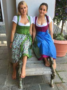 Our latest summer dirndl from Gössl The fabrics are not a dream! German Girls, German Women, Octoberfest Girls, Oktoberfest Outfit, Beer Girl, Barefoot Girls, Dirndl Dress, Gorgeous Feet, Traditional Dresses