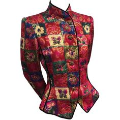 """1980s Ungaro Multicolor """"Patchwork"""" Lamé Brocade Tie-Back Fitted... ($645) ❤ liked on Polyvore featuring outerwear, jackets, red jacket, 1980s leather jacket, emanuel ungaro jacket, multi colored jacket and multi color jacket"""