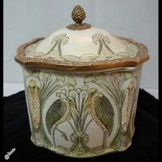 Marabou Bird  Art Nouveau Style Porcelain Bronze Tobacco box