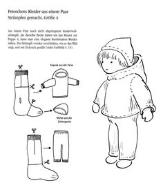 Not in English but picture is self explanatory. Make a doll's hooded jacket, hat and snow pants from a pair of socks
