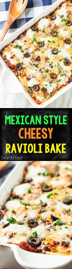 Super Easy, Flavorful, and can be made ahead! #mexican #casserole #ravioli