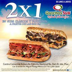¿Están listos para el 2x1 de lunes a jueves después de las 5pm en subs clásicos y favoritos de QuiznosSub? ¡Buen apetito!