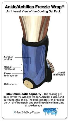 The Ankle/Achilles Freezie Wrap will reduce the pain, swelling and inflammation caused by bursitis in your retrocalcaneal and subcutaneous calcaneal bursa Insertional Achilles Tendonitis, Achilles Pain, Achilles Tendon Rupture Treatment, Foot Pain Relief, Natural Pain Relief, Haglunds Deformity, Tarsal Tunnel Syndrome, Massage, Heel Pain