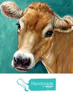 Jersey Cow Art Print, honey colored Jersey cow on teal background, dairy cow, Print of Original Painting by Dottie Dracos from Dottie Dracos http://www.amazon.com/dp/B017AIEU00/ref=hnd_sw_r_pi_dp_NDuMwb01EM5KC #handmadeatamazon