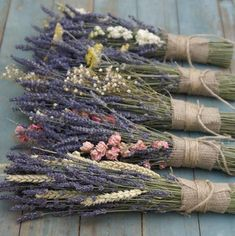 Lavender & Yarrow Posy The Artisan Dried Flower Company Fradswell, Staffordshire is part of Dried flowers - Lavender Crafts, Lavender Flowers, Lavander, Lavender Bouquet, Dried Flower Bouquet, Dried Flowers, Deco Nature, Dried Flower Arrangements, Flower Company