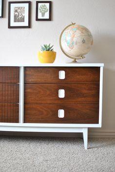 TICKET TUESDAY: Mid Century Dresser Makeover-she used a small can of Minwax English Chestnut with about 4or 5 tablespoons of Minwax Ebony