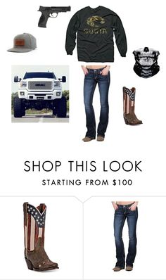 """""""Costas"""" by johndeerebabe ❤ liked on Polyvore featuring Dan Post, Miss Me and Smith & Wesson"""