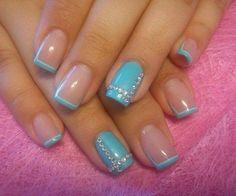 French nails with stones photo Best Nail Art Designs, Simple Nail Designs, Cute Nails, Pretty Nails, Diy Nails, Nagel Tattoo, French Tip Nail Art, Light Blue Nails, Fabulous Nails