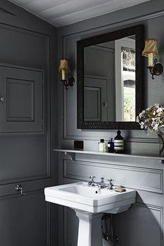 Handsome gray powder room
