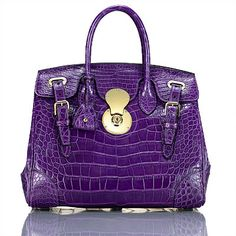 f7739ac4e2d5 ralph lauren crocodile ricky tote Purple Handbags