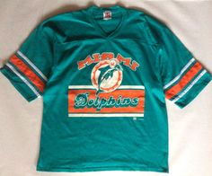 Miami Dolphins sport tee / football jersey, turquoise, orange, and white, 1994, men's extra large by afterglowvintage on Etsy
