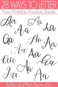 Ways to Letter A - Free Hand Lettering Practice Sheets Lettering A - buchstaben Variationen<br> Get the Ways to Letter A free hand lettering practice set. The free set includes 5 pages and 28 ways to letter A. Hand Lettering Alphabet, Doodle Lettering, Creative Lettering, Brush Lettering, Hand Lettering Fonts Free, Alphabet Fonts, Calligraphy Tutorial, Hand Lettering Tutorial, How To Write Calligraphy