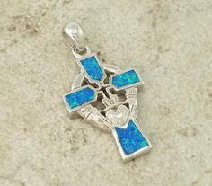 Opal Celtic Cross Claddagh Sterling Silver by CherishedSaints, $32.00