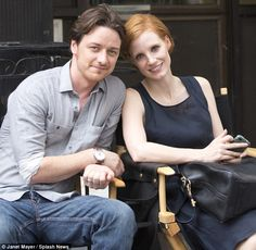 Just acting: James and Jessica smile for the cameras on a break after filming the dramatic scene