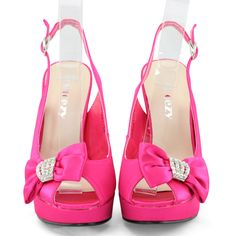 Details about FUCHSIA HOT PINK OPEN PEEP TOE HIGH HEEL PLATFORM ...