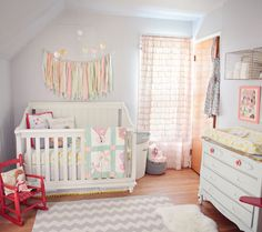 I love the vintage theme for this baby girl's nursery. Baby Olives Pastel, Vintage, Spring Inspired Nursery Tour | Disney Baby