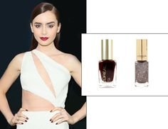 Lily Collins wears L'Oreal's Colour Riche Nail Color ($6) in Haute Couture Red under a coat of Bronze Parure.