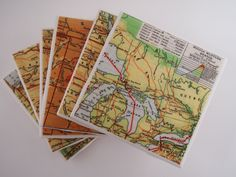 1945 US Middle Western or Midwest States Map Coasters - Ceramic Set of 6 - Repurposed 1945 Geography Textbook page