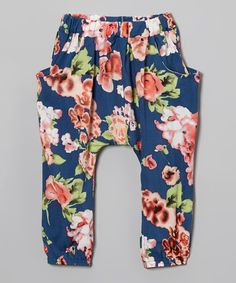 Loving this Navy Floral Harem Pants - Infant, Toddler & Girls on #zulily! #zulilyfinds