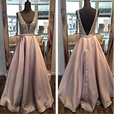 Backless A line Evening Prom Dresses, 2017 Long Party Prom Dress, Custom Long Prom Dress, Cheap Party Prom Dress, Formal Prom Dress, 17034 #longpromdresses