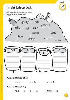 In de juiste bak - Thema afval - ou/au; Kids Writing, Writing Practice, Speech Language Therapy, Speech And Language, Learn Dutch, Aperol, 2nd Grade Worksheets, Environmental Studies, Learning Through Play