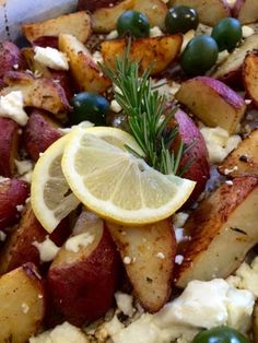 Mint Green Apron: Roasted Rosemary Potatoes with Baked Feta and Warm.