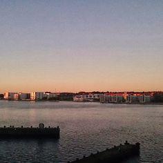 Nørresundby and Limfjorden seen from Aalborg, Denmark. October 2013.